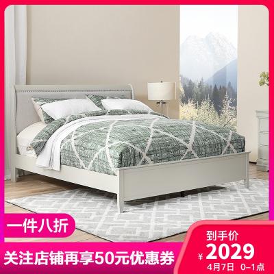 Ashley愛室麗美式鄉村床現代簡約家具1.5m銀灰色實木雙人公主床1.8米主臥輕奢大床婚床 B378