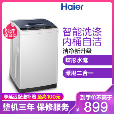 海尔(Haier)EB80M009 8公斤 大容量 全自动家用波轮洗衣机 24小时预约 一键桶干燥 桶自洁