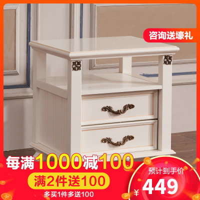 A家家具 床頭柜 美式鄉村臥室床頭柜美式小柜子實木框架床邊柜收納儲物簡約歐式木質 XM013
