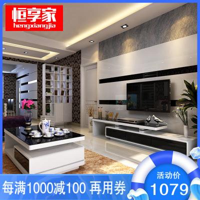 恒享家 電視柜 簡約現代鋼化玻璃可伸縮儲物電視柜客廳成套電視柜茶幾黑白組合 6319#