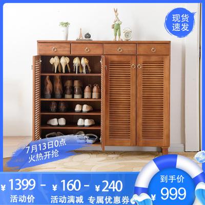 家逸實木鞋柜大容量玄關鞋柜多層鞋架門百葉開門收納柜