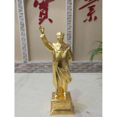 毛揮手銅像43.8 毛塑純銅家裝飾品 工藝品擺件【定制】 鍍金揮手銅像金色43.8