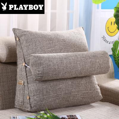 花花公子(PLAYBOY)家紡 棉麻純色靠枕床頭純色大靠背墊腰枕三角座椅靠墊簡約護腰家用可拆洗