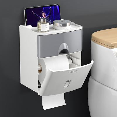 夢妮 衛生間紙巾盒廁所浴室紙巾盒紙置物架廁紙盒免打孔防水卷紙筒