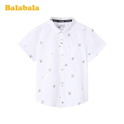 巴拉巴拉寶寶短袖襯衫兒童裝男童上衣洋氣夏裝翻領純棉百搭襯衣男