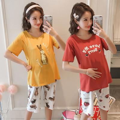 蕭淑妃 短袖五分褲孕婦月子服夏季薄款產婦產后哺乳喂奶睡衣家居服套裝可外穿