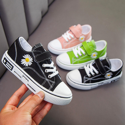 伊布朵朵小雛菊2020春季兒童帆布鞋男女童百搭中大童餅干底學生休閑運動鞋