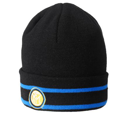 国际米兰俱乐部官方19冬季男子户外运动跑步骑行保暖针织黑色运动帽