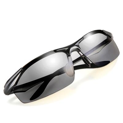 感光變色偏光駕駛鏡男士開車專用太陽鏡鋁鎂鏡框墨鏡