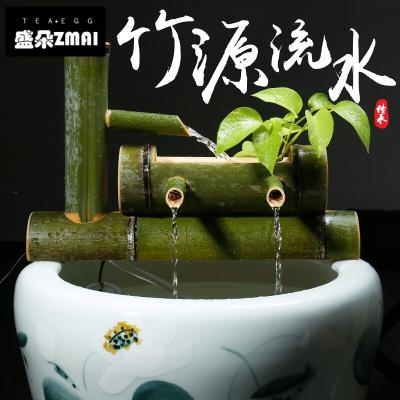 竹子流水擺件客廳噴泉風水輪加濕器魚缸石過濾器-j10 底座長30