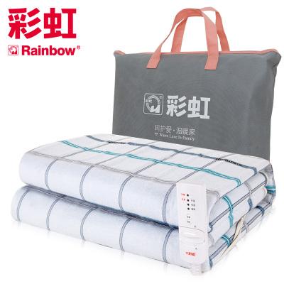 彩虹(RAINBOW)電熱毯單人電褥子(1.6*0.8米)安全保護學生宿舍可調溫單控一鍵除螨 除濕排潮花色隨機