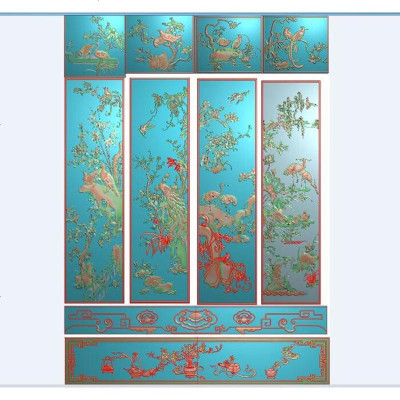 四季花鸟山水风景大精雕图浮雕衣柜板荷花梅兰竹菊灰度顶箱柜