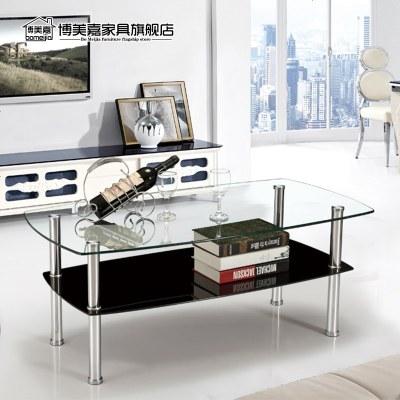 枳記家 鋼化玻璃小茶幾正方形沙發邊幾簡約現代客廳茶幾桌子移動創意邊桌