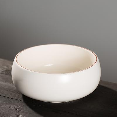 古德窑 纯白陶瓷茶洗日式大小号笔洗家用大号水盂建水功夫茶具配件