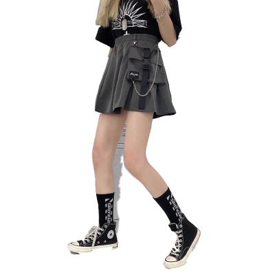 夏季韓版ins原宿風工裝半身裙女學生高腰顯瘦大口袋百褶裙A型運動短裙潮臻依緣
