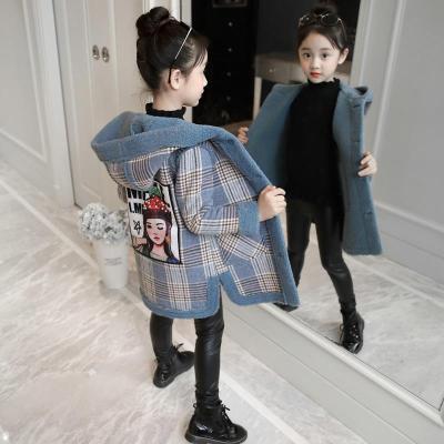 女童秋冬装呢子外套2019新款儿童洋气加绒毛呢小女孩加厚呢大衣潮 威珺
