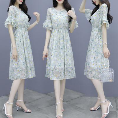子沫雨JMOORY連衣裙女裝夏裝2020新款女裝氣質流行超仙收腰顯瘦碎花雪紡名媛裙子