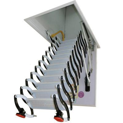 碳鋼伸縮樓梯閣樓家用隱藏半自動加厚伸縮梯折疊復試別墅升降定制 新款半自動冷軋鋼80*100