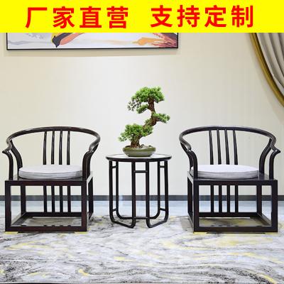 邁菲詩新中式圈椅三件套禪意實木官帽書椅陽臺椅皇宮茶椅明清仿古太師椅