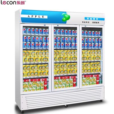 乐创(lecon)1060L三开门冷藏展示柜 立式冷柜 商用冰箱 饮料陈列保鲜柜 冷藏柜 冰柜 三门风冷蓝白色