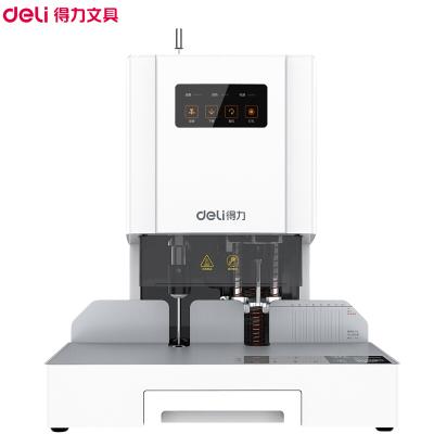 得力(deli)14601激光定位自动财务装订机白色 装订厚度50mm 热熔胶铆管装订机 电动档案文件打孔机 装订机