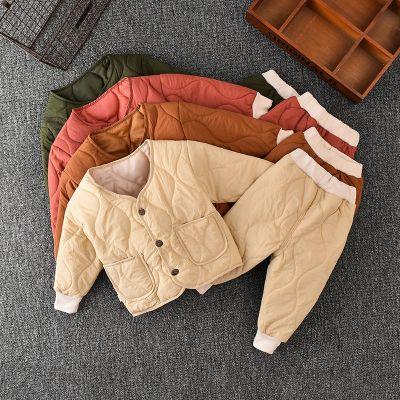 2020秋冬新款兒童棉服套裝男女童中小童寶寶居家服加棉加厚兩件套