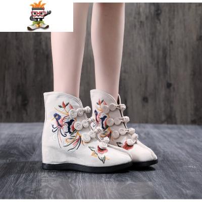 鞋子女2019新款绣花靴子绣花鞋舞蹈单靴坡跟内增高6厘米高跟女鞋  SHANCHAO