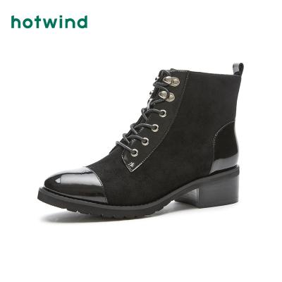 熱風hotwind冬季新款潮流時尚女士系帶休閑靴百搭時裝靴女H81W8840