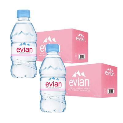 2件裝  依云(evian)礦泉水 330ml*24瓶/箱 進口飲用水 礦物質水 法國進口