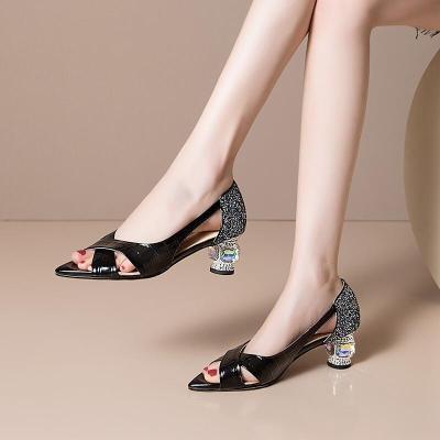 真皮高跟涼鞋女夏新款女鞋牛皮水鉆粗跟魚嘴鞋時尚外穿中空四季皮鞋大碼