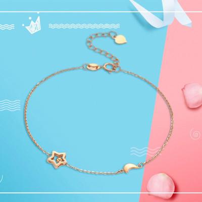 金一珠寶 小確幸系列星月相伴手鏈18K金手鏈調節鎖扣KS01093-B