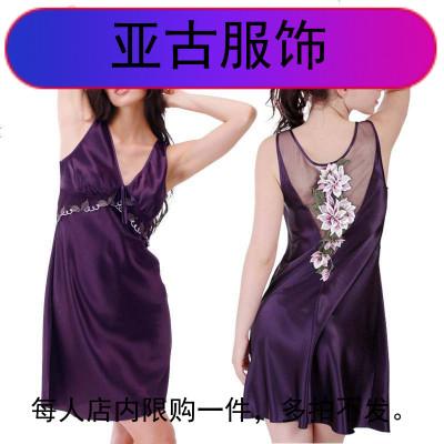 吊带绣花睡裙女自带胸垫背心紫色显瘦领大码冰丝胖睡衣裙