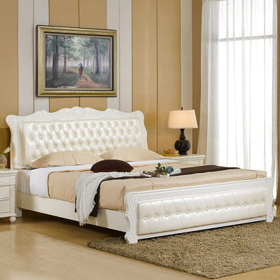 实木床 双人床 1.8米1.5米单人白色公主床架 简欧式软床储物家具 可定制2*2.2米