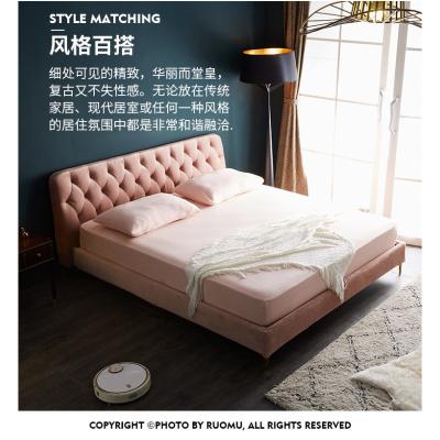 尋木匠北歐床主臥室布藝床雙人床1.8m樣板間軟包床簡約現代經濟型網紅床