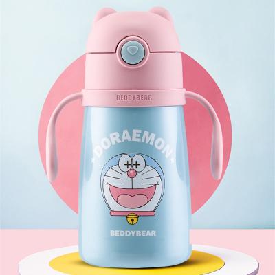 (私人定制)哆啦A夢系列杯具熊兒童保溫杯帶吸管兒童水杯316不銹鋼內膽寶寶學飲杯兒童保溫壺320mlBEDDYBEAR