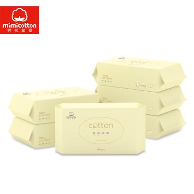 棉花秘密(mimicotton) 嬰兒純棉柔巾 干濕兩用純棉柔巾母嬰幼兒童非濕巾 15*20 100抽6包