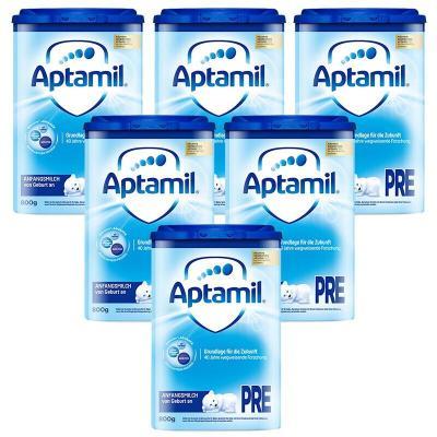 Aptamil 愛他美 德國原裝進口 德國愛他美 嬰幼兒配方奶粉 保稅倉速 Pre段(0-6個月)800g *6罐