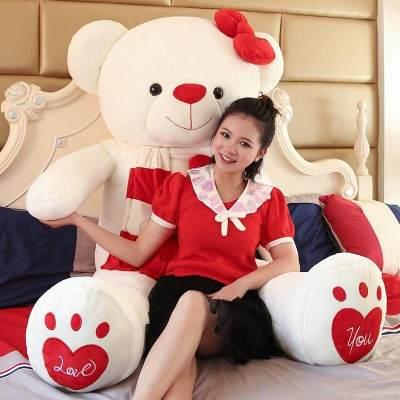 女孩萌泰迪可愛韓國布娃娃送熊貓抱睡覺毛絨玩具公仔抱抱熊女友熊 微笑熊-紅色 全長量1米(送玫瑰+箱裝)