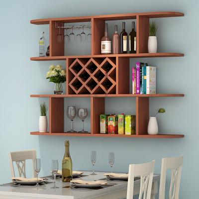 定制酒柜壁掛酒架吊柜餐廳墻上置物架簡約現代紅酒格子 三層柚木色1.2米(8格)