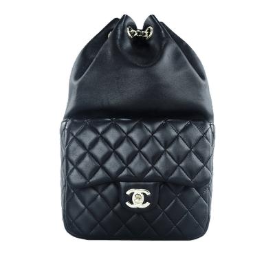 【正品二手95新】香奈兒 Chanel 女士黑銀 羊皮 雙肩包 18*28