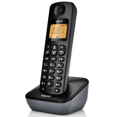 Gigaset(原西門子)A190L 系統星際黑 數字無繩電話機 高清晰免提家用電話機 單機 屏幕背光 一鍵免打擾