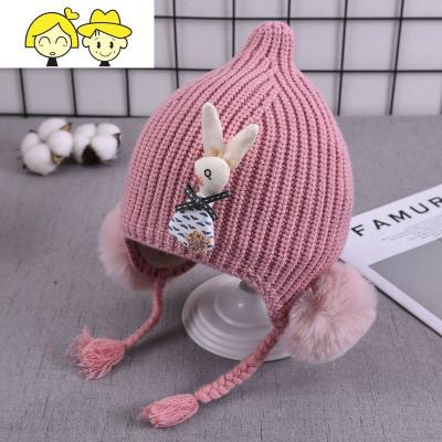 女宝宝帽子秋冬季婴儿毛线帽女童可爱初生男童0-1岁超萌儿童2冬天
