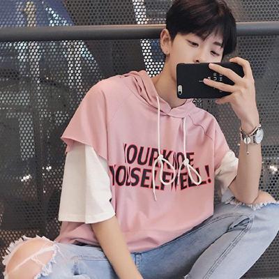 夏季男士短袖T恤韓版學生七分袖圓領衛衣5五分袖假兩件潮男裝半袖 莎丞