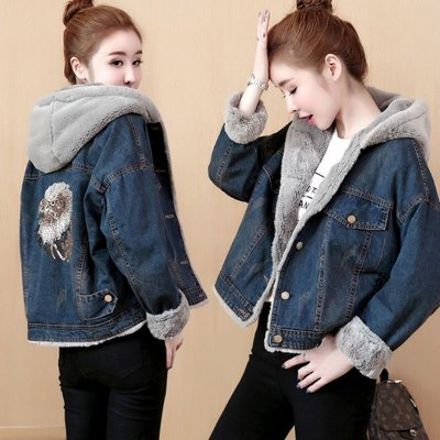 魅言魅語(MeiYanMeiYu)牛仔棉服女短款2020新款冬季加絨連帽外套學生棉衣小棉襖