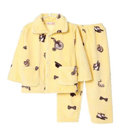 秋冬季兒童睡衣法蘭絨套裝男童女童寶寶長袖珊瑚絨小孩加厚家居服臻依緣