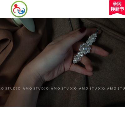 AMO高定版 手工網紅珍珠發夾女ins同款復古一字夾邊夾甜美發飾 JING PING