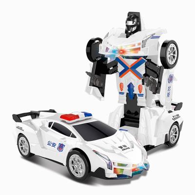 勾勾手(gougoushou)兒童汽車玩具自動變形汽車機器人電動帶音樂360度旋轉跳舞雙重形態男孩兒童玩具【蘭博戰警】