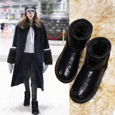 百年纪念雪地靴女靴 冬季加绒平底套脚短靴防水台厚底女鞋保暖棉鞋女利德尚品1817