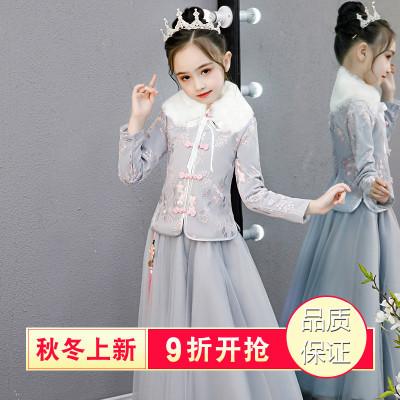 女童汉服连衣裙秋冬洋气公主裙冬裙秋装裙子加绒新款冬季儿童旗袍
