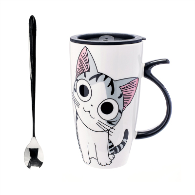 创意陶瓷杯子大容量水杯马克杯简约情侣杯带盖送勺